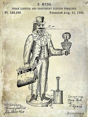 Lighter Photograph - Cigar Lighter Patent 1886  by Jon Neidert