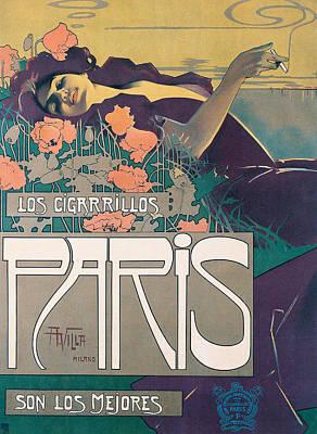 Cigarette Ads Painting - Cigarrillos Paris   Vintage Poster by Aleardo Villa