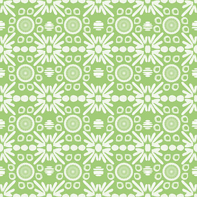 Repeating Mixed Media - Cilantro- Green And White Art By Linda Woods by Linda Woods