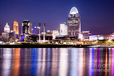 Ohio River Landscapes Photograph - Cincinnati At Night Downtown City Buildings by Paul Velgos