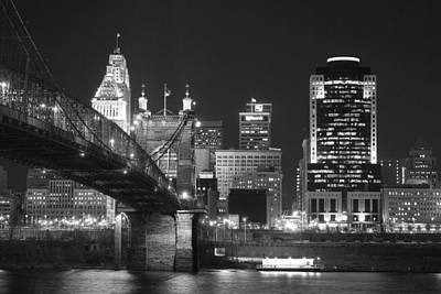Suspension Photograph - Cincinnati At Night by Russell Todd