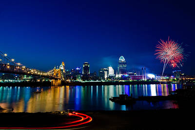 Fireworks Photograph - Cincinnati Boom by Keith Allen