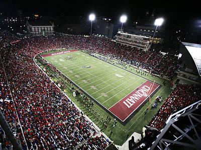 Cincinnati Nippert Stadium The Home Of Bearcat Football Print by University of Cincinnati