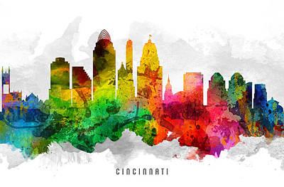 Cincinnati Digital Art - Cincinnati Ohio Cityscape 12 by Aged Pixel