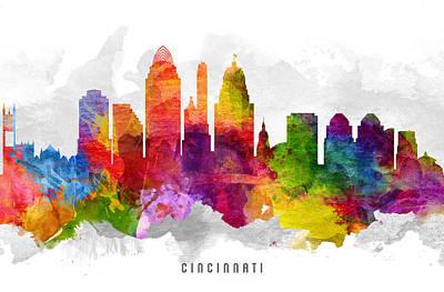 Cincinnati Ohio Cityscape 13 Print by Aged Pixel
