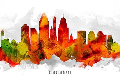 Cincinnati Digital Art - Cincinnati Ohio Cityscape 15 by Aged Pixel