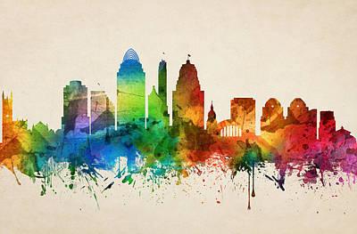 Cincinnati Digital Art - Cincinnati Ohio Skyline 05 by Aged Pixel