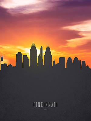 Cincinnati Digital Art - Cincinnati Ohio Sunset Skyline 01 by Aged Pixel