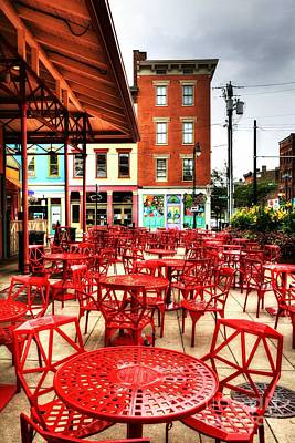 Empty Chairs Photograph - Cincinnati Red At Findlay Market by Mel Steinhauer