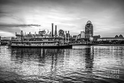 Cincinnati Skyline And Riverboat In Black And White Print by Paul Velgos