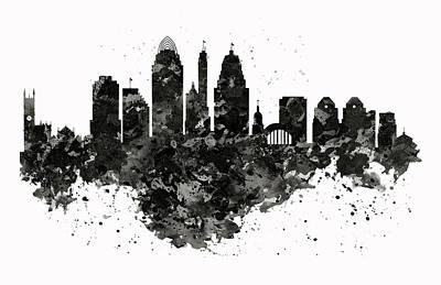 Cincinnati Digital Art - Cincinnati Skyline Black And White by Marian Voicu
