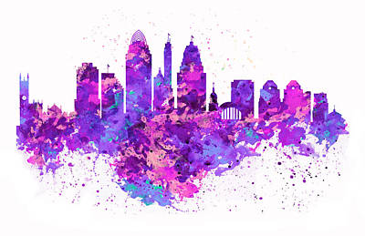 Watercolor Digital Art - Cincinnati Skyline by Marian Voicu