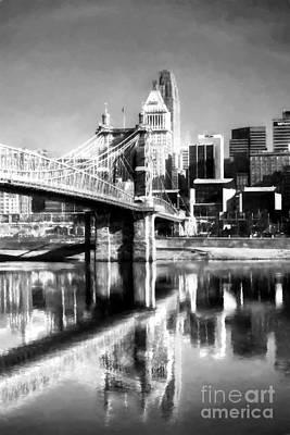 Cincinnati Skyline Reflections Bw Print by Mel Steinhauer