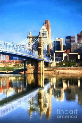 Cincinnati Skyline River Reflections Print by Mel Steinhauer