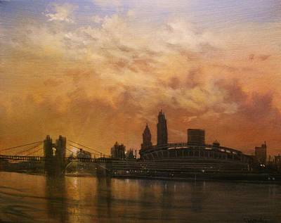 Cincinnati Ohio Painting - Cincinnati Skyline by Tom Shropshire