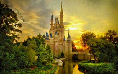 Variant Digital Art - Cinderella Castle  - Monet Style -  - Da by Leonardo Digenio