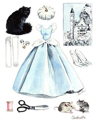 Ball Gown Painting - Cinderella Disney Princess Collage Castle Glass Slippers Mouse Pumpkin Cat by Laura Row