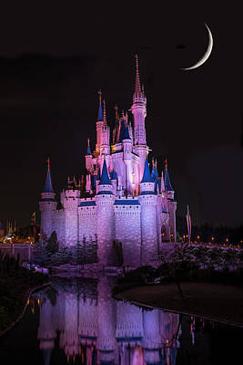 Cinderella's Castle Under A Crescent Moon Print by Chris Bordeleau