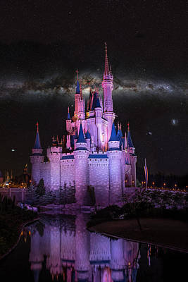 Cinderella's Castle Under The Milky Way Print by Chris Bordeleau