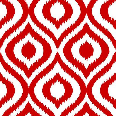 20x20 Digital Art - Circle And Oval Ikat In White T02-p0100 by Custom Home Fashions