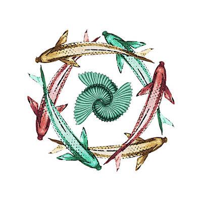 Goldfish Digital Art - Circle by Deborah Smith