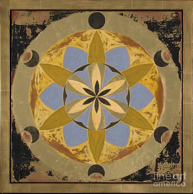 Original Ancient Wisdom With 24kt Gold Frame Original by April Niu