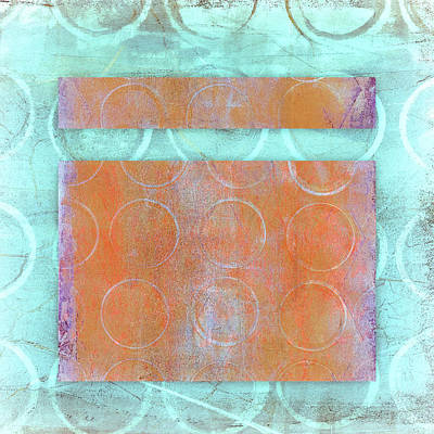 Complementary Mixed Media - Circles And Rectangles Abstract  by Carol Leigh