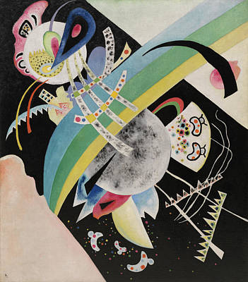 Curves Painting - Circles On Black by Wassily Kandinsky