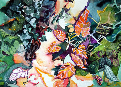 Circling Leaves Print by Mindy Newman