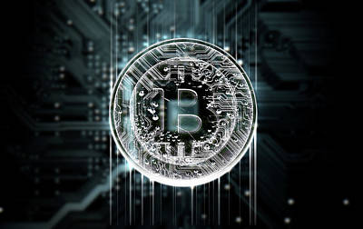 Electrical Digital Art - Circuit Board Projecting Bitcoin by Allan Swart