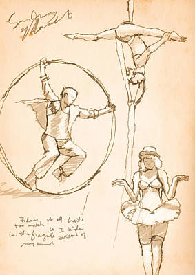 Wheel Drawing - Circus Notes by H James Hoff