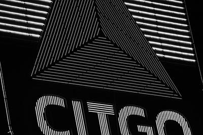 Citgo Sign Closeup Boston Ma Black And White Print by Toby McGuire