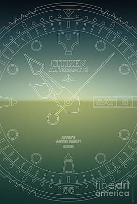 Citizen Automatic Divers Watch Outline Poster Original by Monkey Crisis On Mars