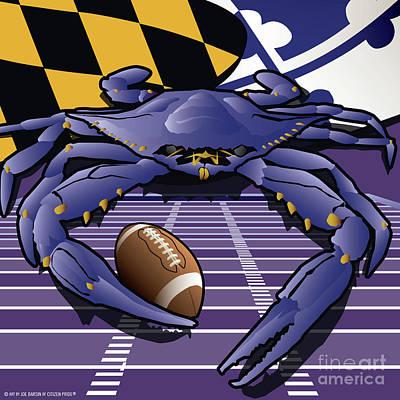 Raven Digital Art - Citizen Crab Raven, Maryland's Crab Celebrating Baltimore Football by Joe Barsin