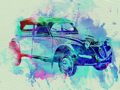 Old Car Drawing - Citroen 2cv by Naxart Studio