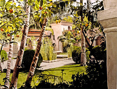 Citrus Courtyard Print by David Lloyd Glover