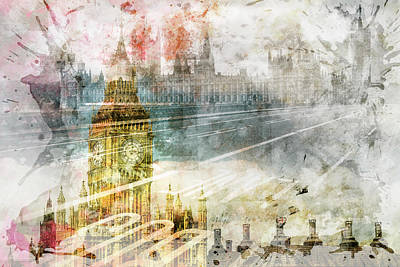 City Art Big Ben And Westminster Bridge II Print by Melanie Viola