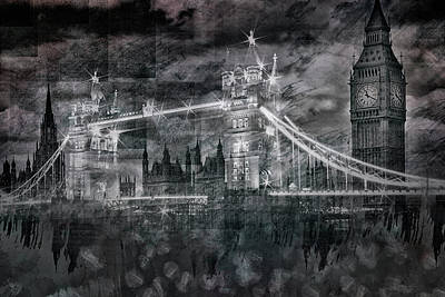 City-art London Tower Bridge And Big Ben Composing Bw  Print by Melanie Viola