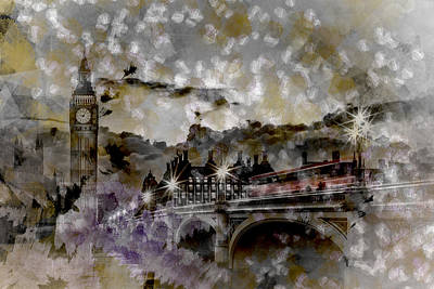 City-art London Westminster Bridge At Sunset Print by Melanie Viola