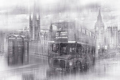 City-art London Westminster Collage Black And White Print by Melanie Viola