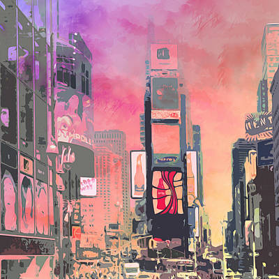 Abstracted Digital Art - City-art Ny Times Square by Melanie Viola