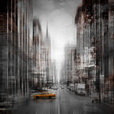 Must Art Photograph - City-art Nyc 5th Avenue Yellow Cab by Melanie Viola