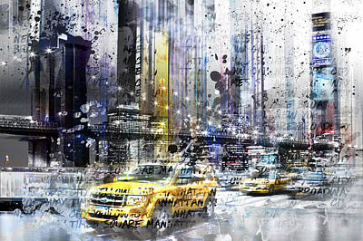 Times Square Digital Art - City-art Nyc Collage by Melanie Viola