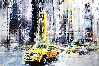 Times Square Digital Art - City-art Times Square Streetscene by Melanie Viola