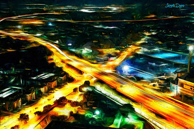 Reflection Painting - City Artery - Pa by Leonardo Digenio