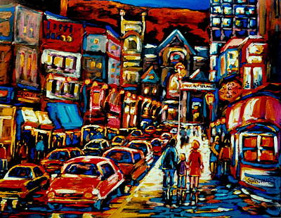 Montreal Street Life Painting - City At Night Downtown Montreal by Carole Spandau