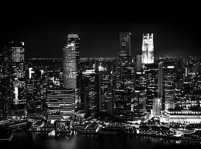 Architecture Photograph - City At Night - Modern Skyline Photography by Wall Art Prints