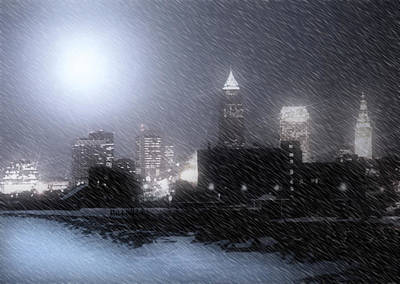 City Bathed In Winter Print by Kenneth Krolikowski