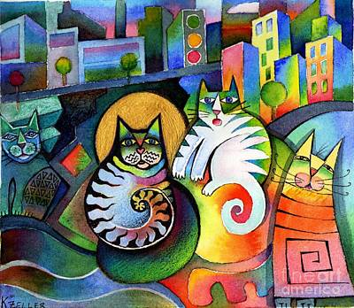 Cats Painting - City Cats by Karin Zeller