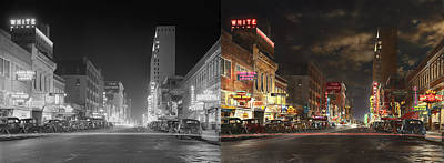 City - Dallas Tx - Elm Street At Night 1941 - Side By Side Print by Mike Savad